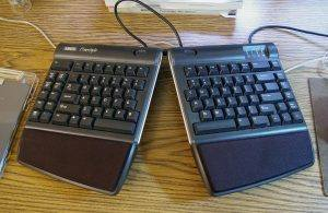 Kinesis Freestyle keyboard with VIP kit on the author's desk