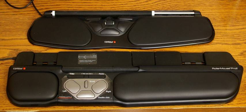 The RollerMouse Free2 (top) is both smaller and thinner than the Pro.