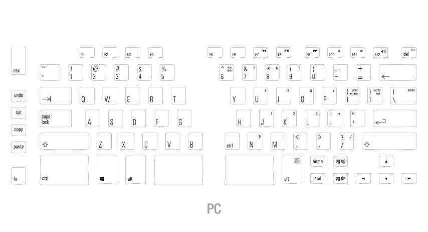 The Matias Ergo Pro key layout (US).