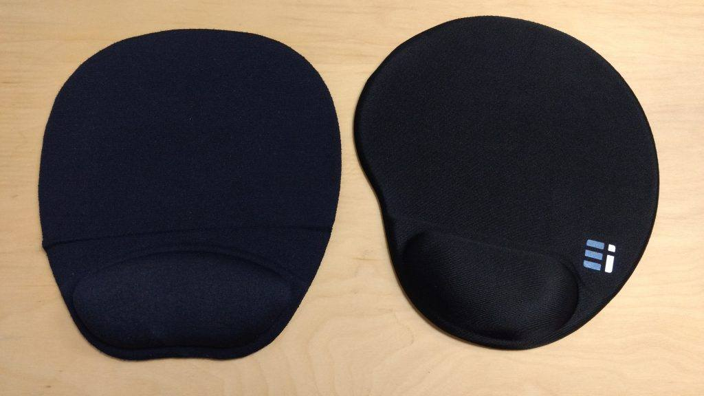 ergonomic mouse pad next to cheap mouse pad